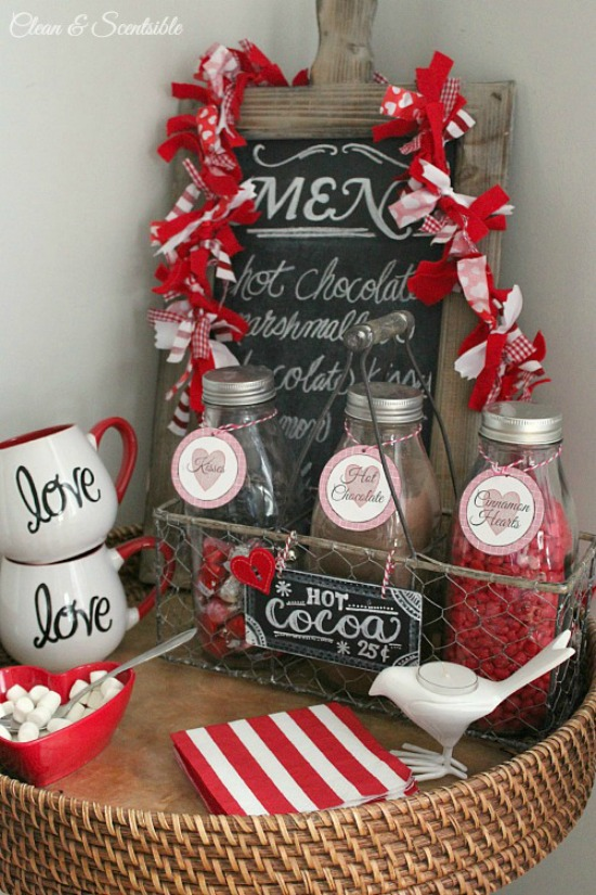 Clean & Scentsible Hot Cocoa Bar, 40 Valentines Day Ideas via House of Hargrove