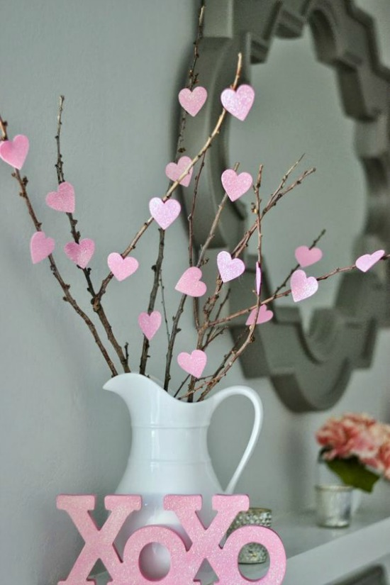 Money Hip Mamas Valentnes Day Tree Branches, 40 Valentines Day Ideas via House of Hargrove