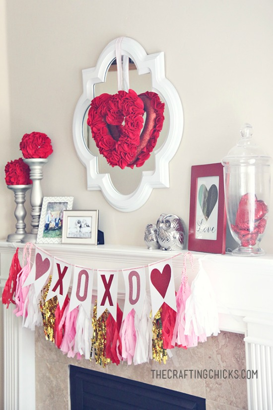 The Crafting Chicks Valentine Mantle, 40 Valentines Day Ideas via House of Hargrove