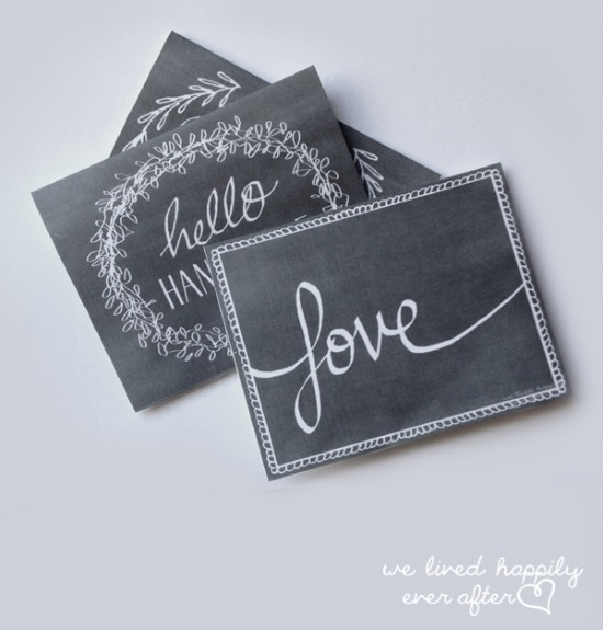 we lived happily ever after Chalkboard Valentine Cards, 40 Valentines Day Ideas via House of Hargrove