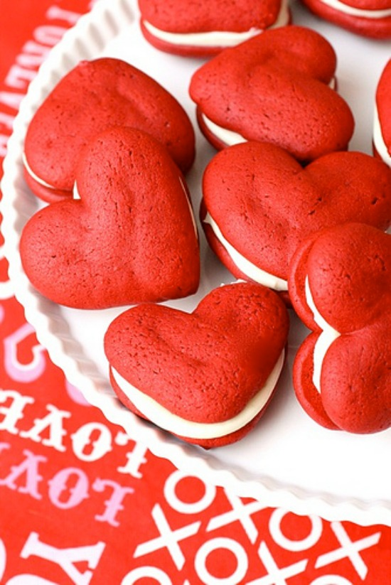 Red Velvet Whoopie Pies by Annies Eats, 40 Valentines Day Ideas via House of Hargrove