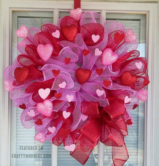Deco Mesh Wreath by Crafty Morning, 40 Valentines Day Ideas via House of Hargrove