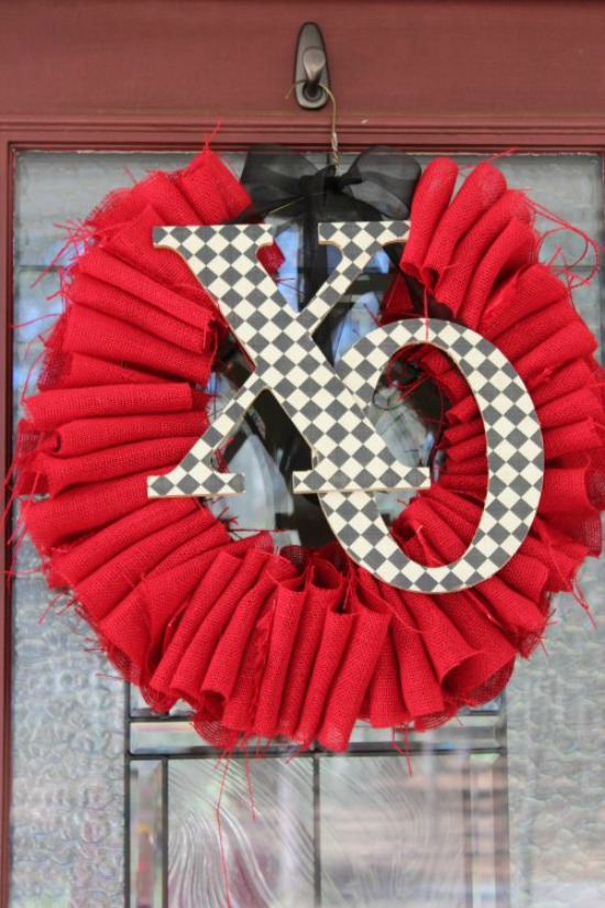 Frugal Coupon Living DIY Burlap Valentine Wreath, 40 Valentines Day Ideas via House of Hargrove