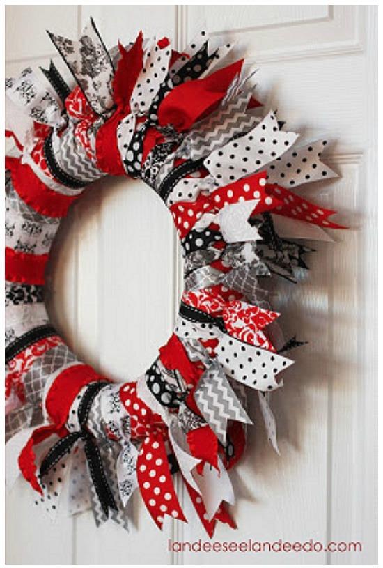 Valentine Ribbon Wreath by Landeeseelandeedo.com, 40 Valentines Day Ideas via House of Hargrove