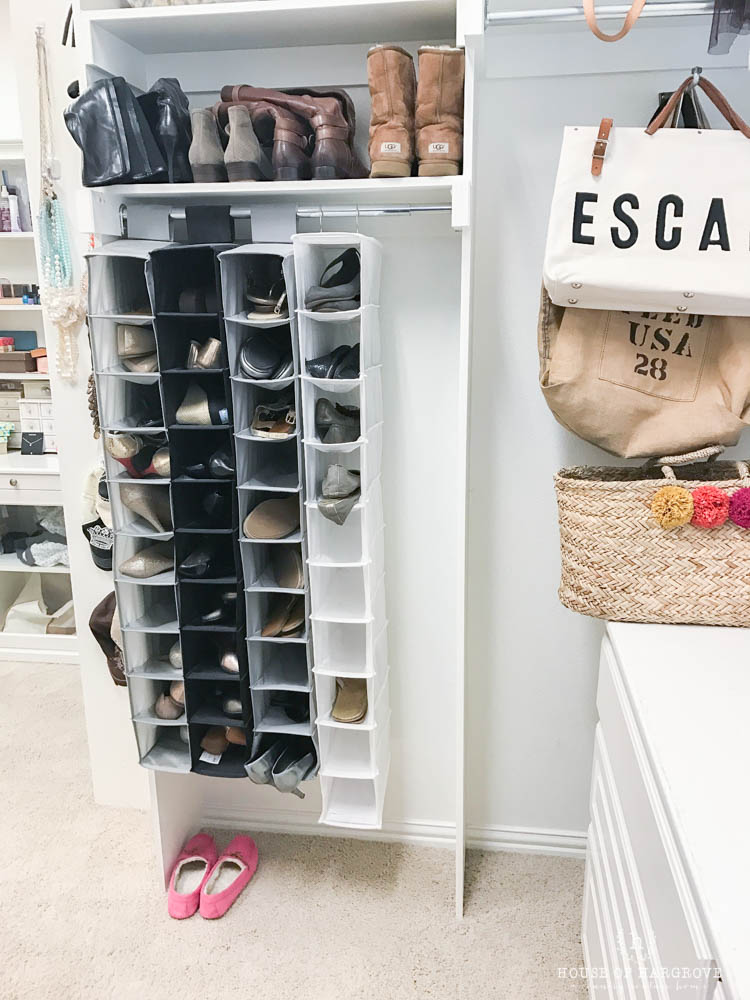 i looked at a bunch of different options but ended up going with the container store 12 pair shoe - Container Store Shoe Storage