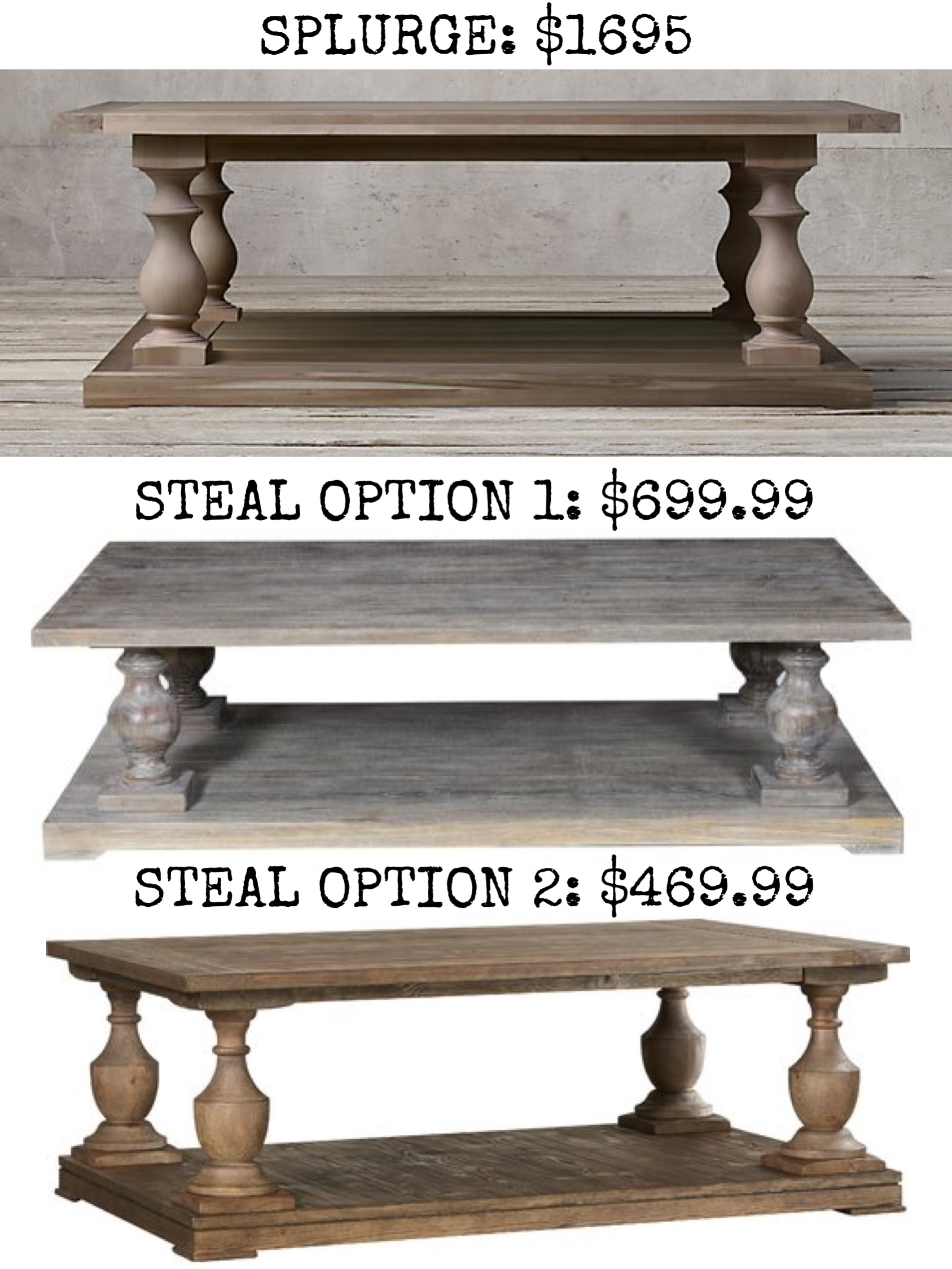 Restoration Hardware The Look For Less House Of Hargrove - Restoration hardware coffee table look alike
