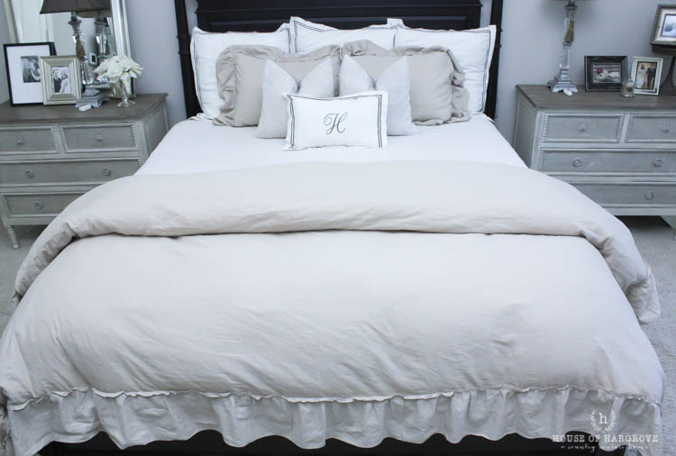 Linen Ruffle Bedding The Look For Less House Of Hargrove