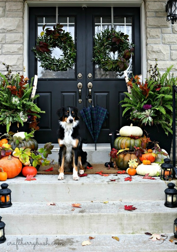 Gourds and little pumpkins inside lanterns are perfect for all those front porch steps!