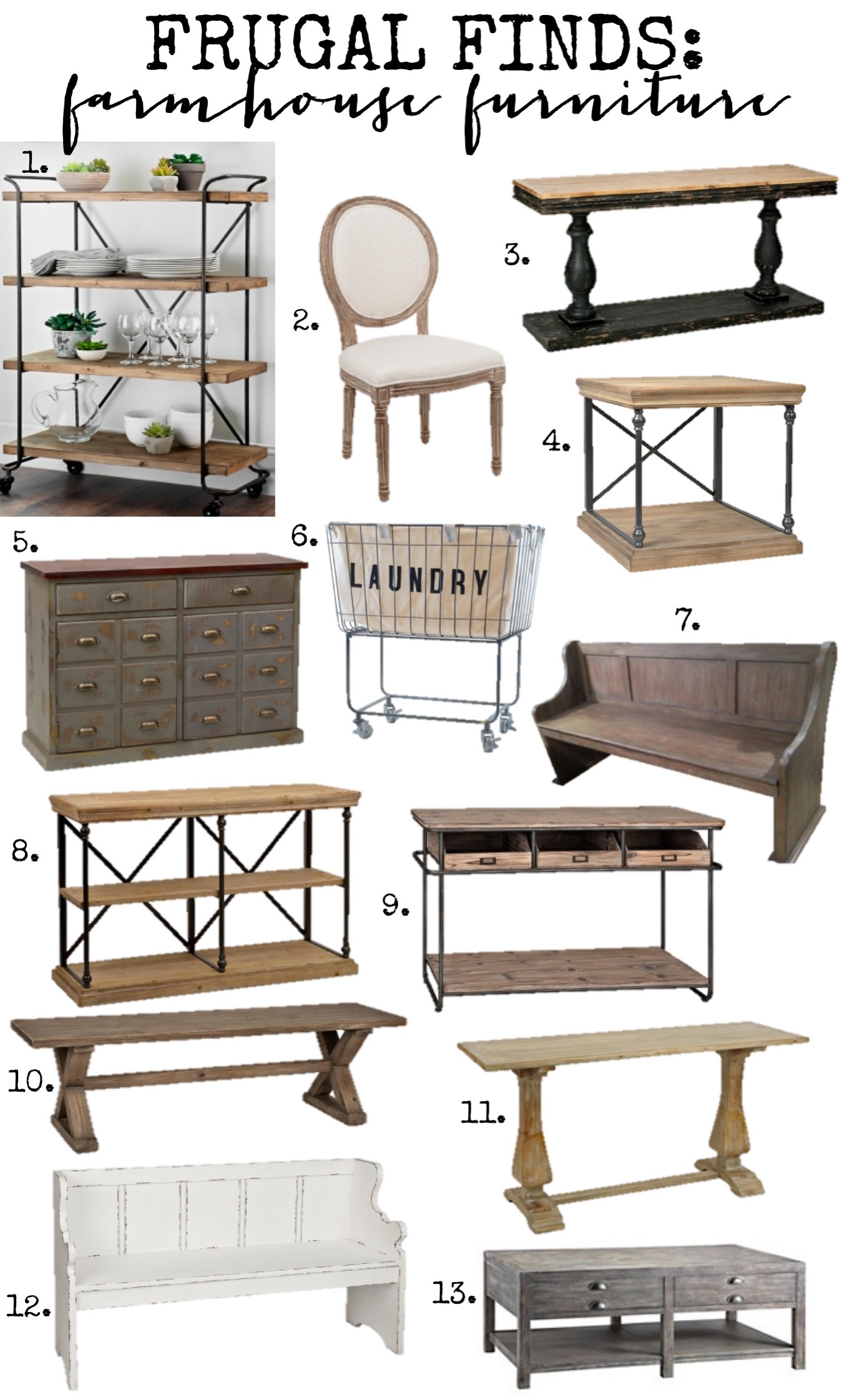 Frugal finds farmhouse furniture home decor for Home decor and furniture