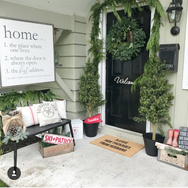 There is no shortage of major inspiration for those Christmas Front Porches right here!