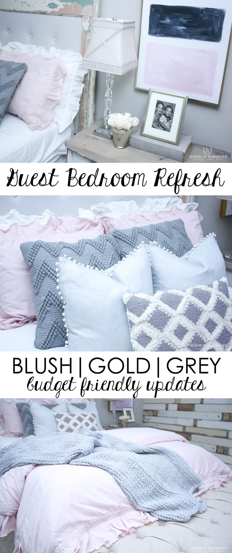Guest Bedroom Refresh: Blush, Grey & Gold - House of Hargrove on gold and gray walls, gold and grey car, gold and grey walls, gold and grey kitchen, vintge mint and gray bedroom, gold and grey boat, gold and grey art, gold and grey color scheme, gold and grey office, gold and gray throw pillows, gold and grey decor, gold and grey lamps, black and purple bedroom, gold coral mint bedroom, gold and grey interior, gold and gray living room, gold and grey duvet, gold and brown living room decor, gold and gray bathroom, gold and grey rugs,