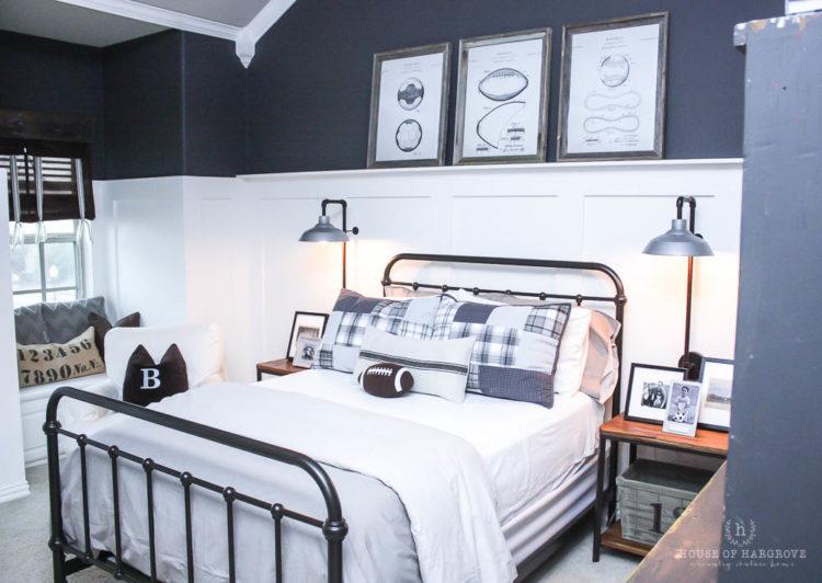 Vintage Industrial Sports Bedroom: Braden's Bedroom Reveal